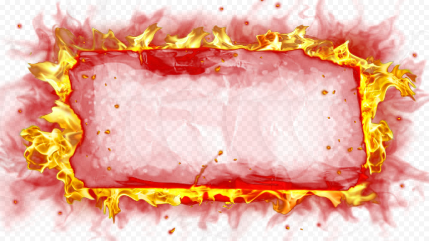 Flame Fire Border Rectangular Frame Outline