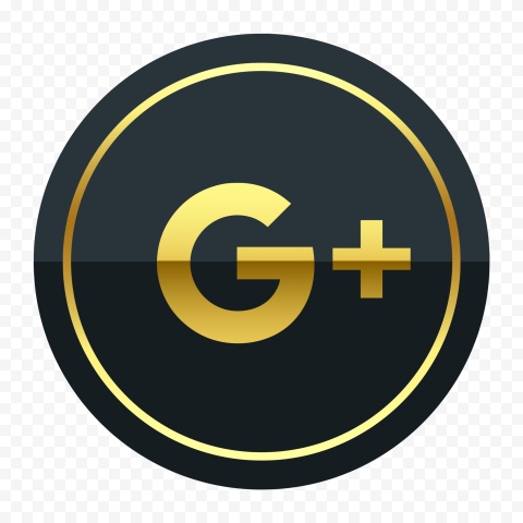 Black And Yellow Gold Round Google G Plus Icon