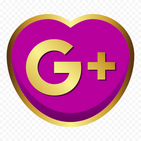 Golden Heart Shape Google Plus Icon