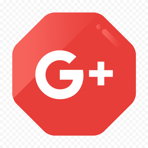 Red Hexagon Google G Plus Vector Flat Style Icon