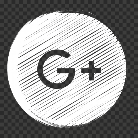 White Scribble Pencil Style Round Google Plus Icon
