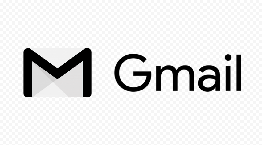 Black Gmail Text Logo With Envelope Icon