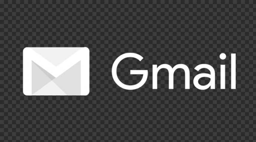 White Gmail Text Logo With Envelope Icon