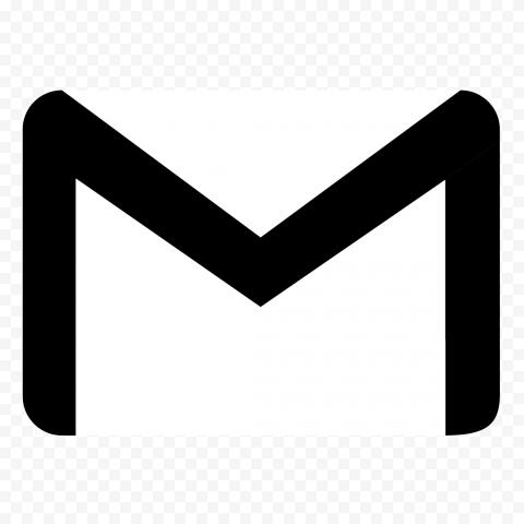 Black & White HD Gmail Envelope Symbol Logo Icon