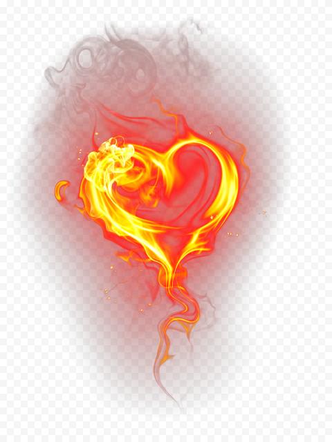 Heart Burning Love Romance Fire Art Illustration