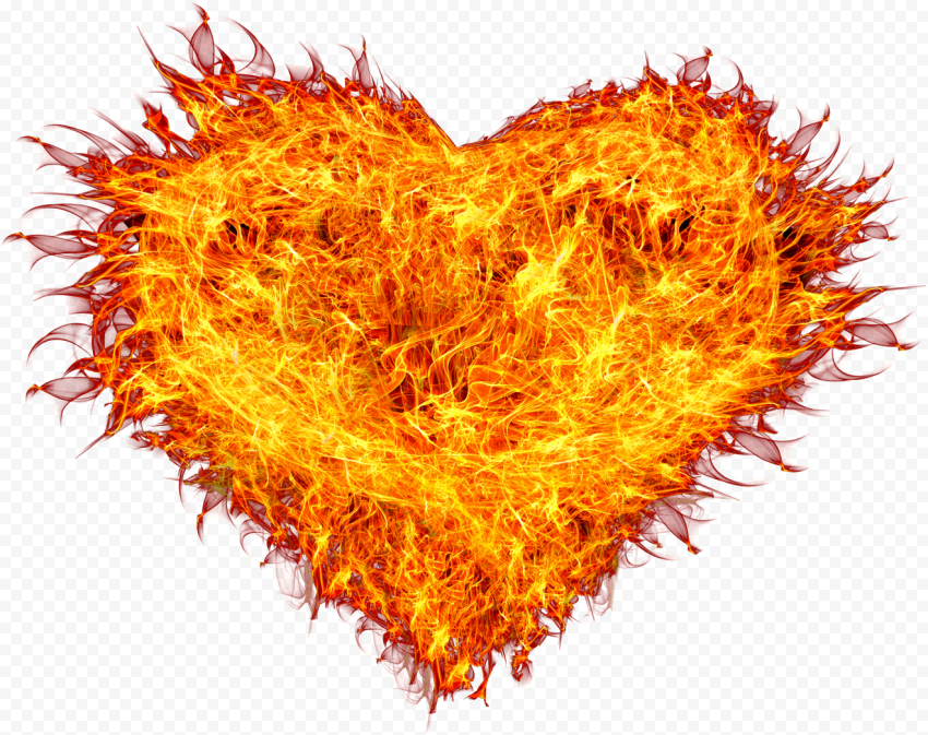 Love Flamed Heart With Sun Rays Border Effect