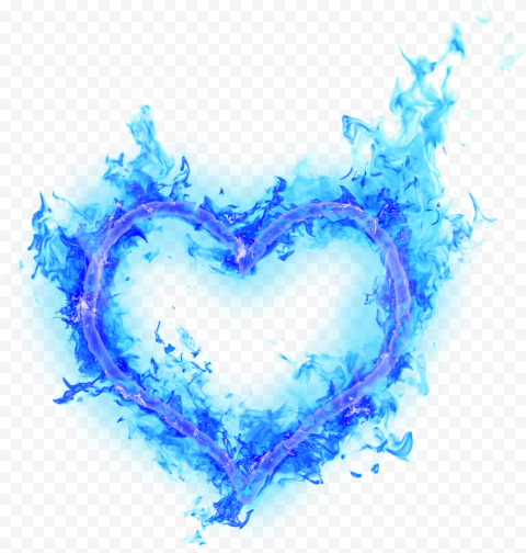 Flamed Outline Heart Blue Fire Border Broken Love