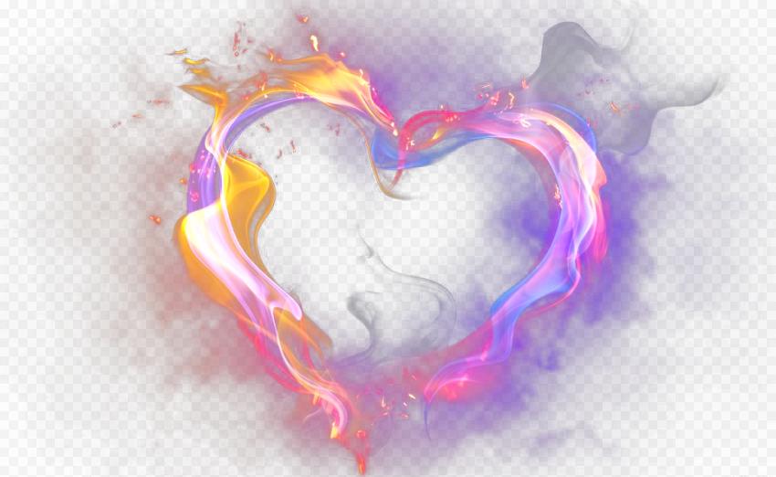 Pink Purple Gradient Heart Fire Smoke Effect