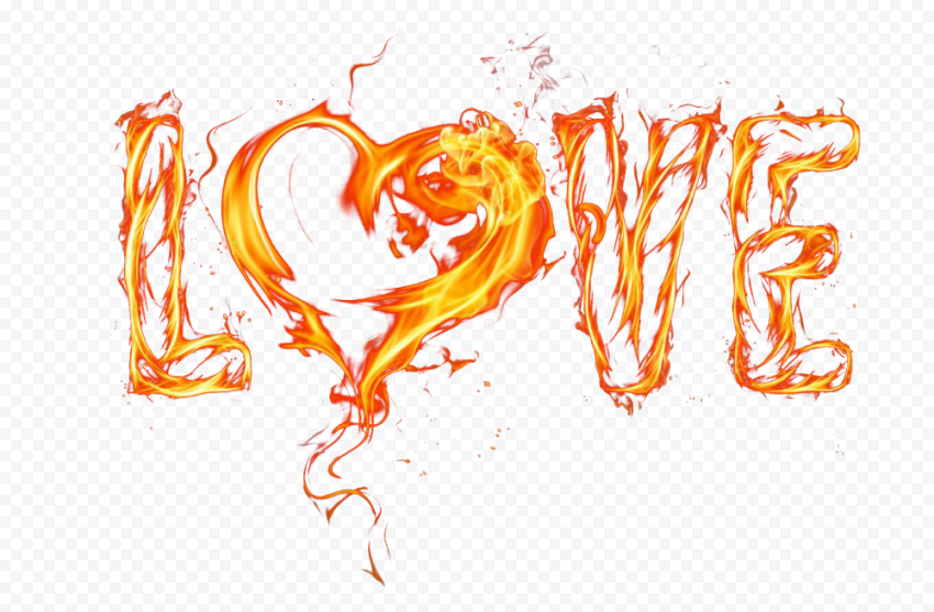 Love Word With Heart Fire Style