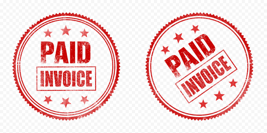 Two Red Round Paid Invoice Business Icon Stamp