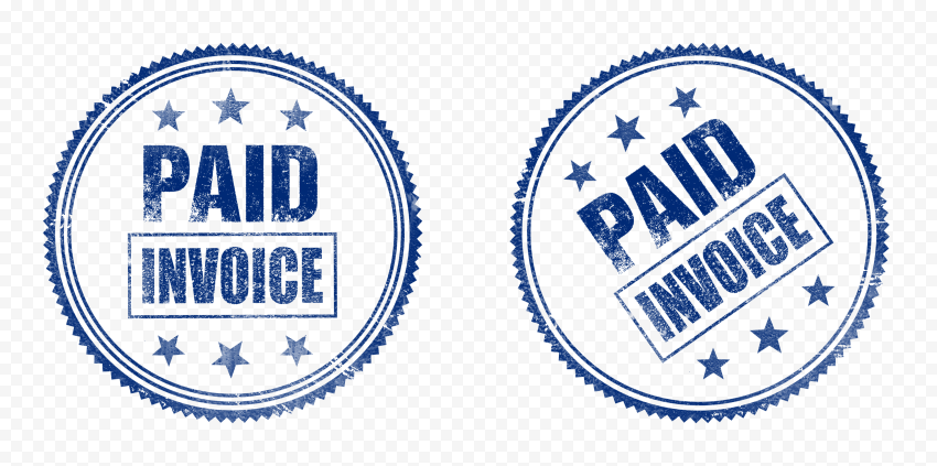 Two Blue Round Paid Invoice Business Icon Stamp