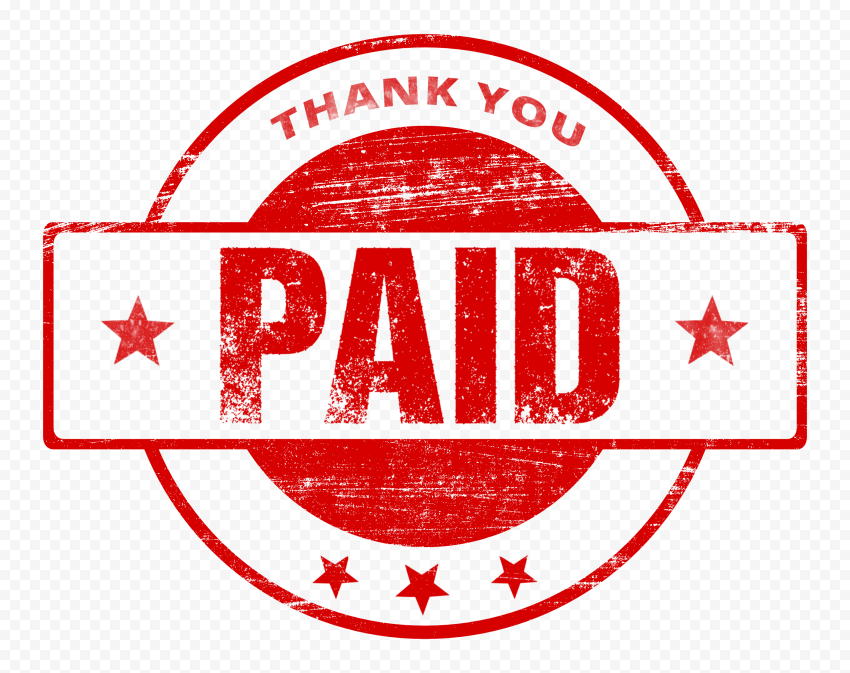 Round Red Thank You Paid Stamp Icon