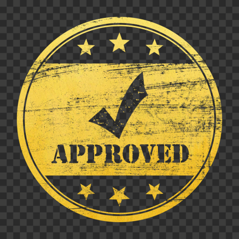 Golden Gold Round Approved Stamp With Check Icon