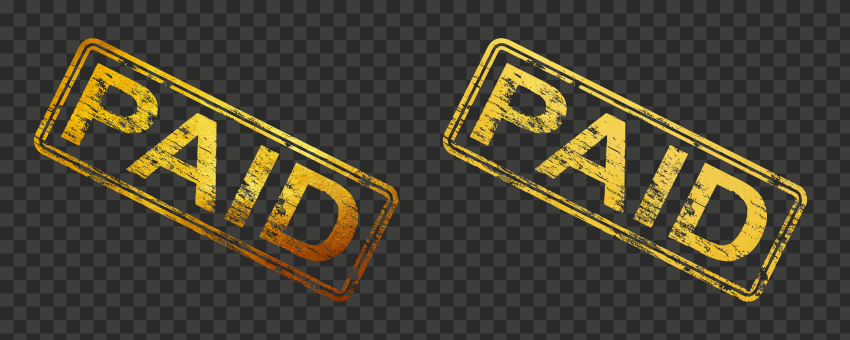 Golden Paid Stamp Business Icon