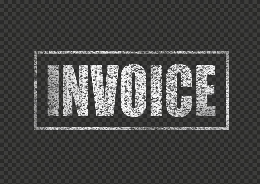 White Invoice Business Word Stamp With Border