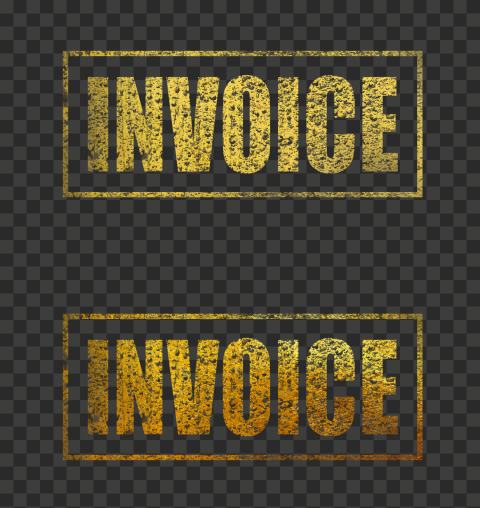 Golden Yellow Invoice Business Word Stamp