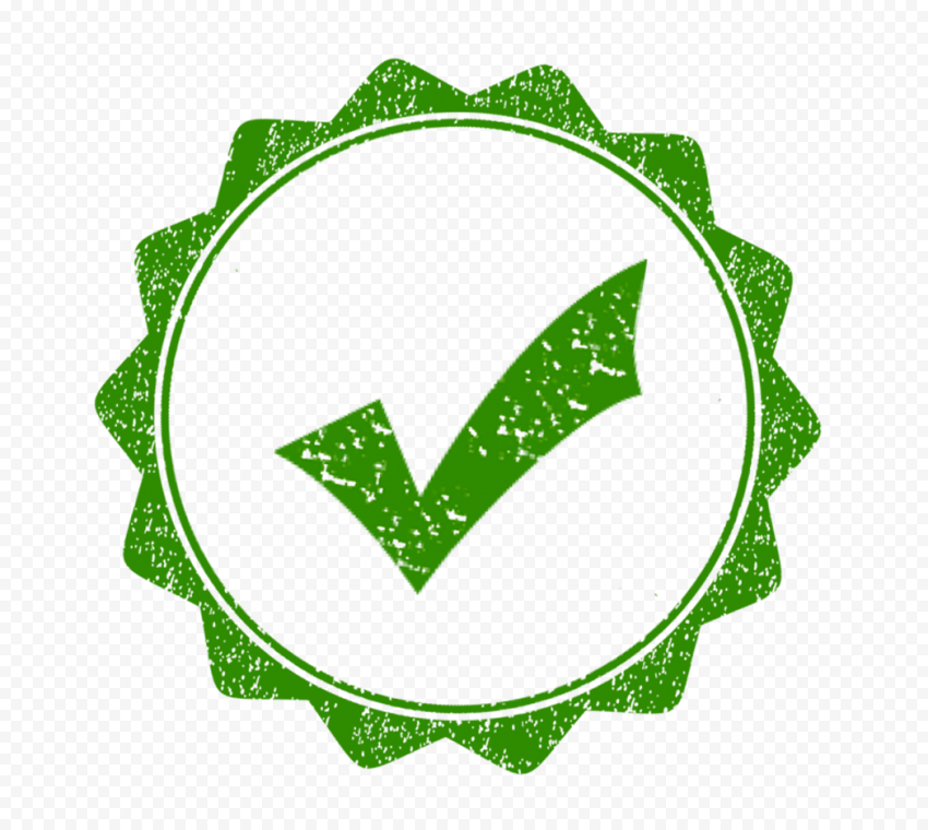 Green Check In Round Stamp Validate True Approved