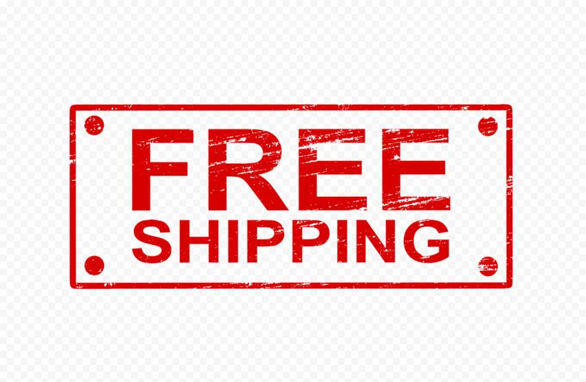 Red Rectangular Free Shipping Stamp