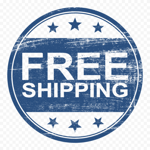 Blue Round Free Shipping Stamp Outline