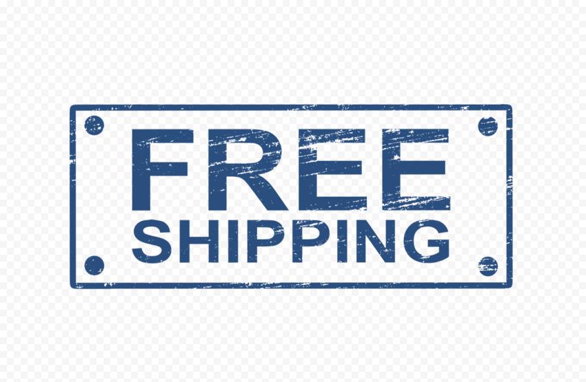 Blue Rectangular Free Shipping Stamp