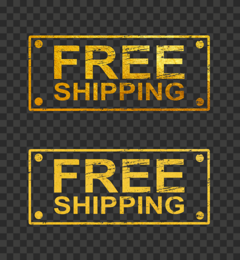 Golden Gold Rectangular Free Shipping Stamp
