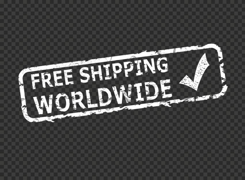 White Worldwide Free Shipping Stamp