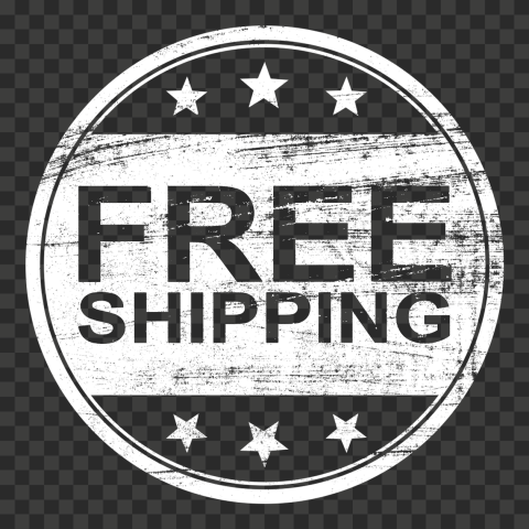 White Round Free Shipping Stamp Outline