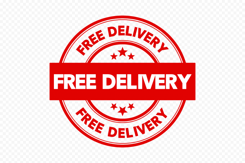 Red Free Delivery Round Stamp