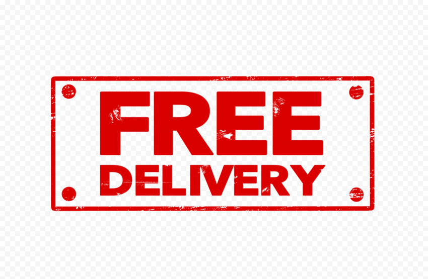Red Rectangular Free Delivery Stamp