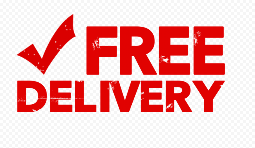 Red Free Delivery With Check Stamp