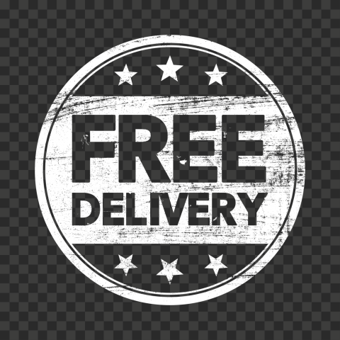 White Outline Round Free Delivery Stamp
