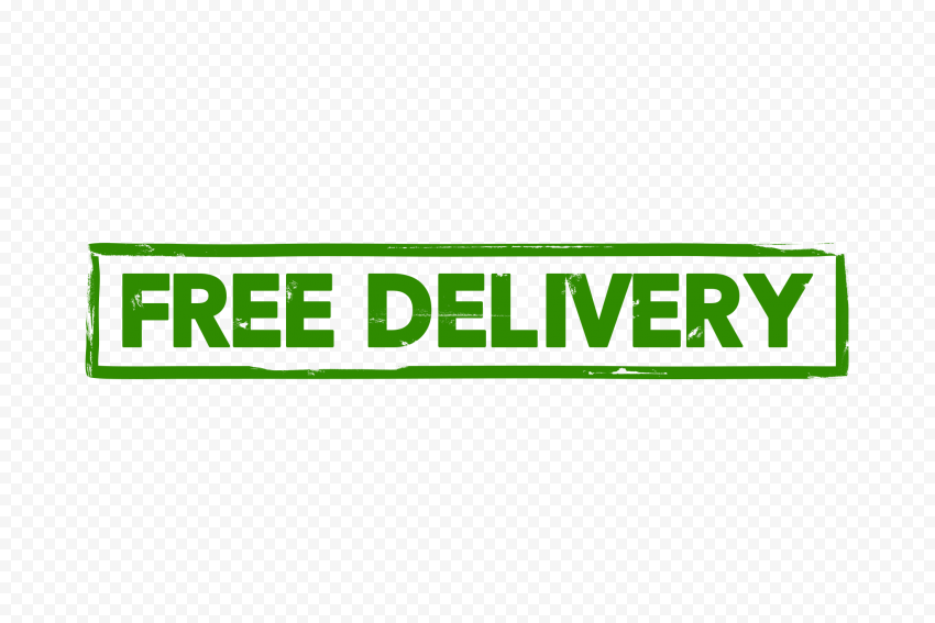 Green Free Delivery Rectangular Stamp Icon