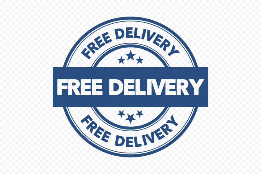 Blue Free Delivery Round Stamp