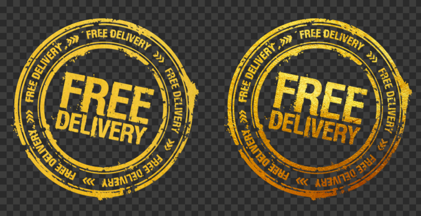 Golden Yellow Round Free Delivery Stamp