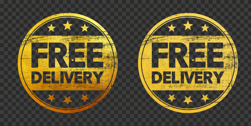 Golden Gold Outline Round Free Delivery Stamp