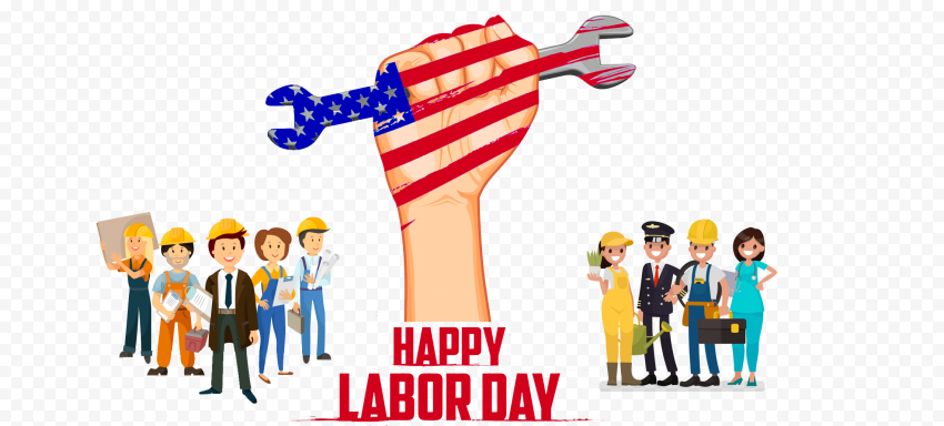 Happy Usa Labor Day Illustration With Workers