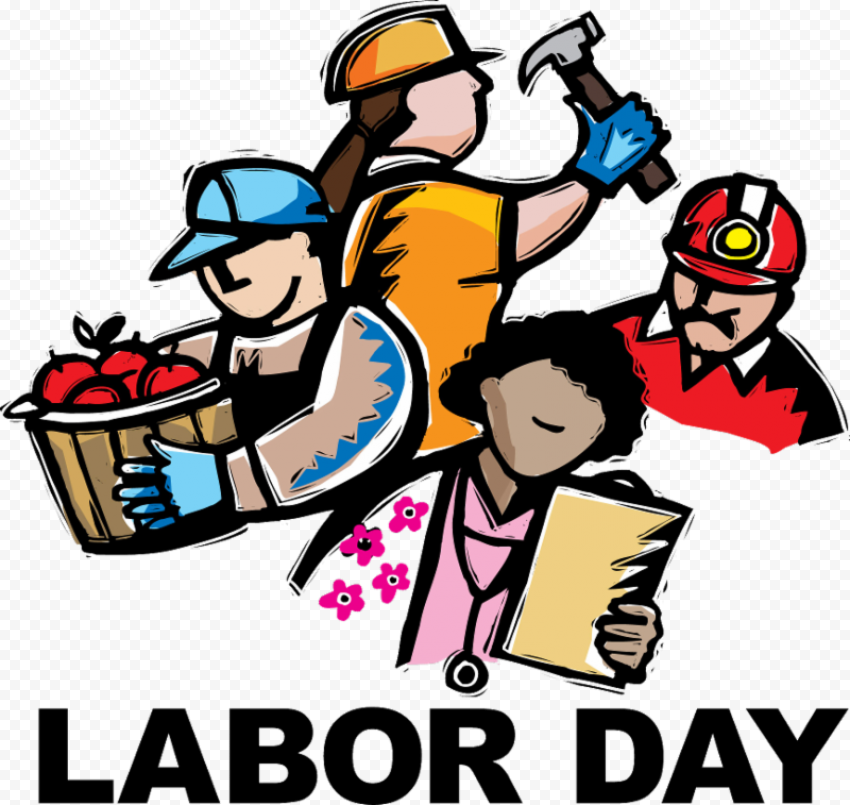 Cartoon Labor Day Workers Illustration