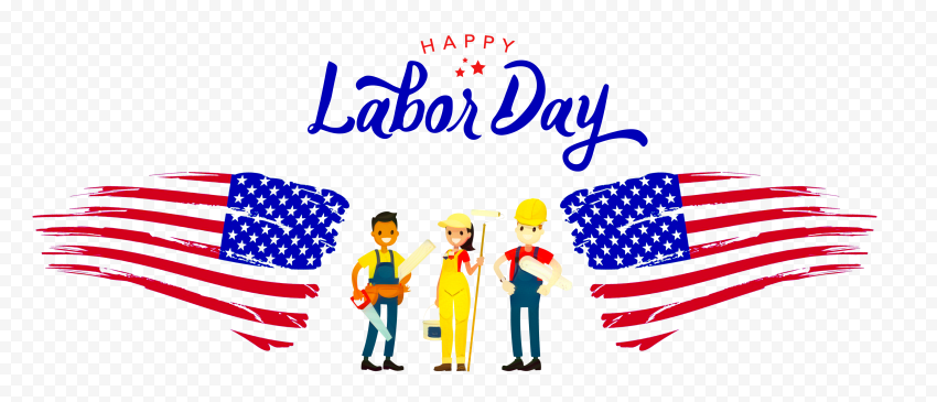 Happy Labor Day With American Workers Illustration