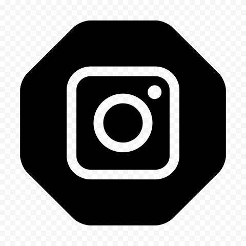 Instagram Outline Logo In Black Hexagonal Shape Icon