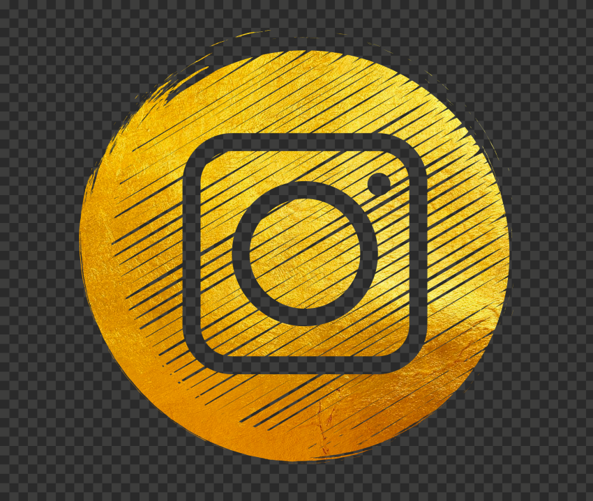 Gold Golden Round Instagram Scribble Pencil Style Icon