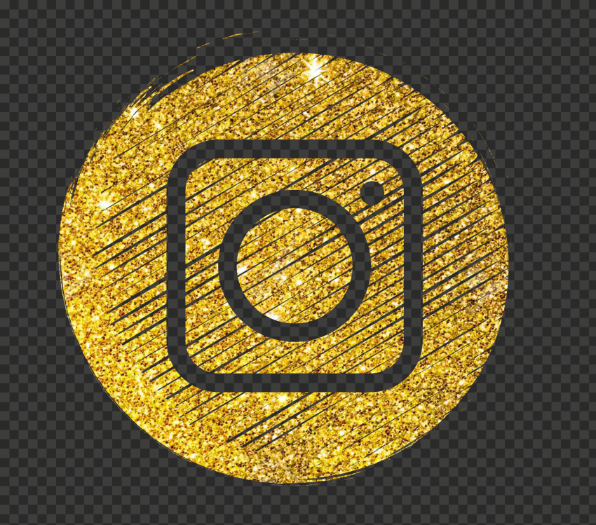 Round Instagram Gold Glitter Scribble Pencil Style Icon