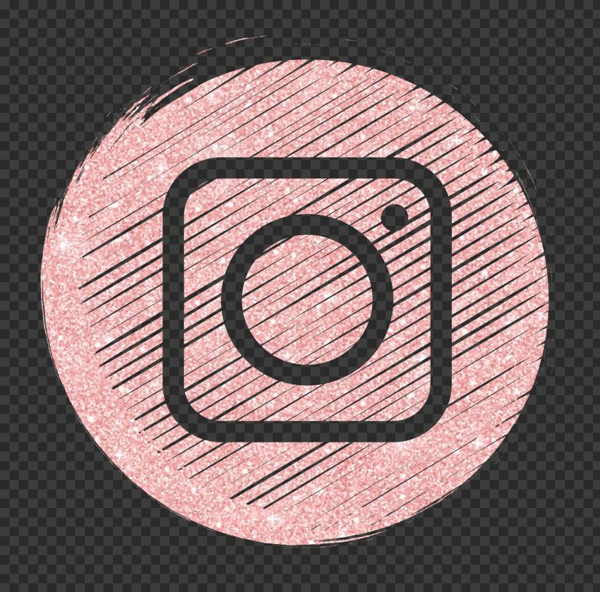 Rose Gold Glitter Instagram Scribble Icon