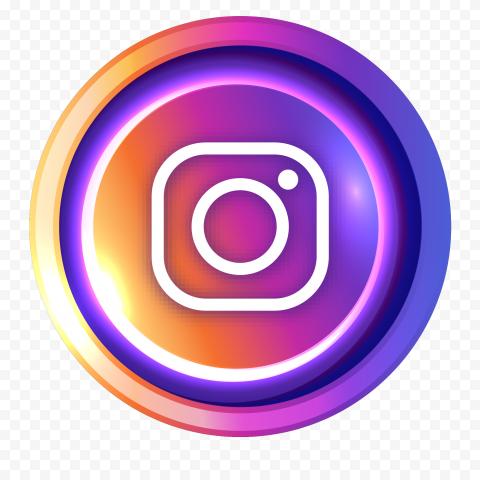 Illuminated Round Instagram Logo Icon Button