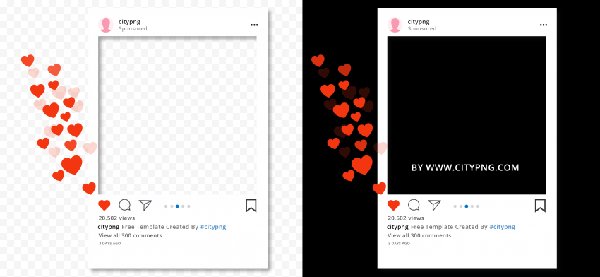 Instagram Post Mockup Template With Like Heart