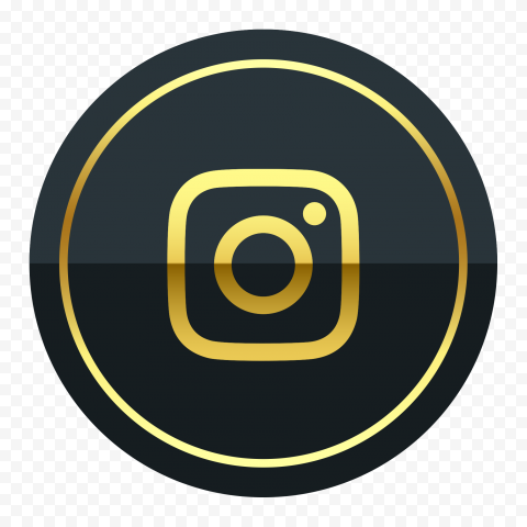 Luxury Round Black & Gold Instagram Icon
