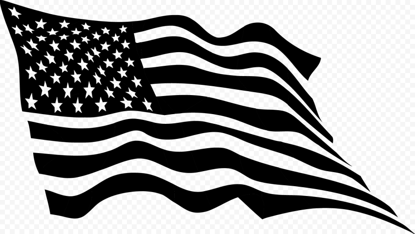 Black Outline Waving United States USA Flag