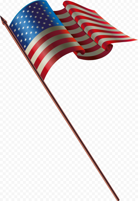 American United States Flag On Pole Illustrator Style