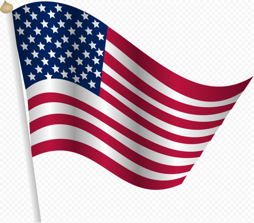 Flag Of United States America Illustration On Pole