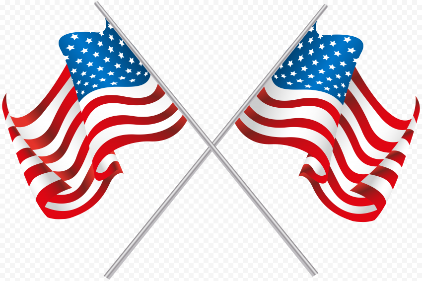 Two Flags Of United States USA America On Pole