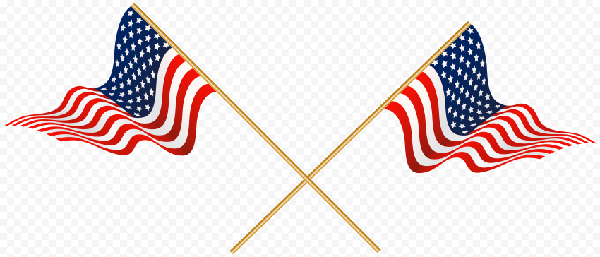 Two Waving Flags Of United States USA On Poles